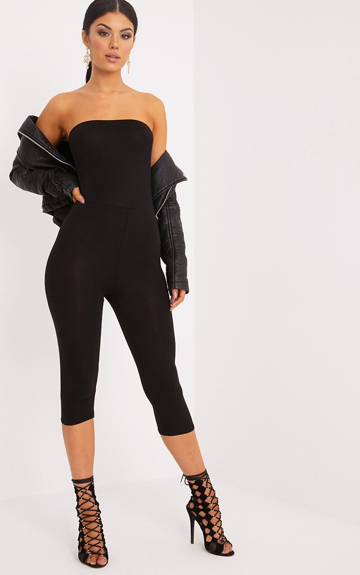Kelli Black Bandeau Cropped Jumpsuit