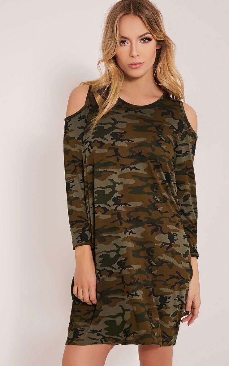 Bronwyn Khaki Camouflage Cold Shoulder Dress