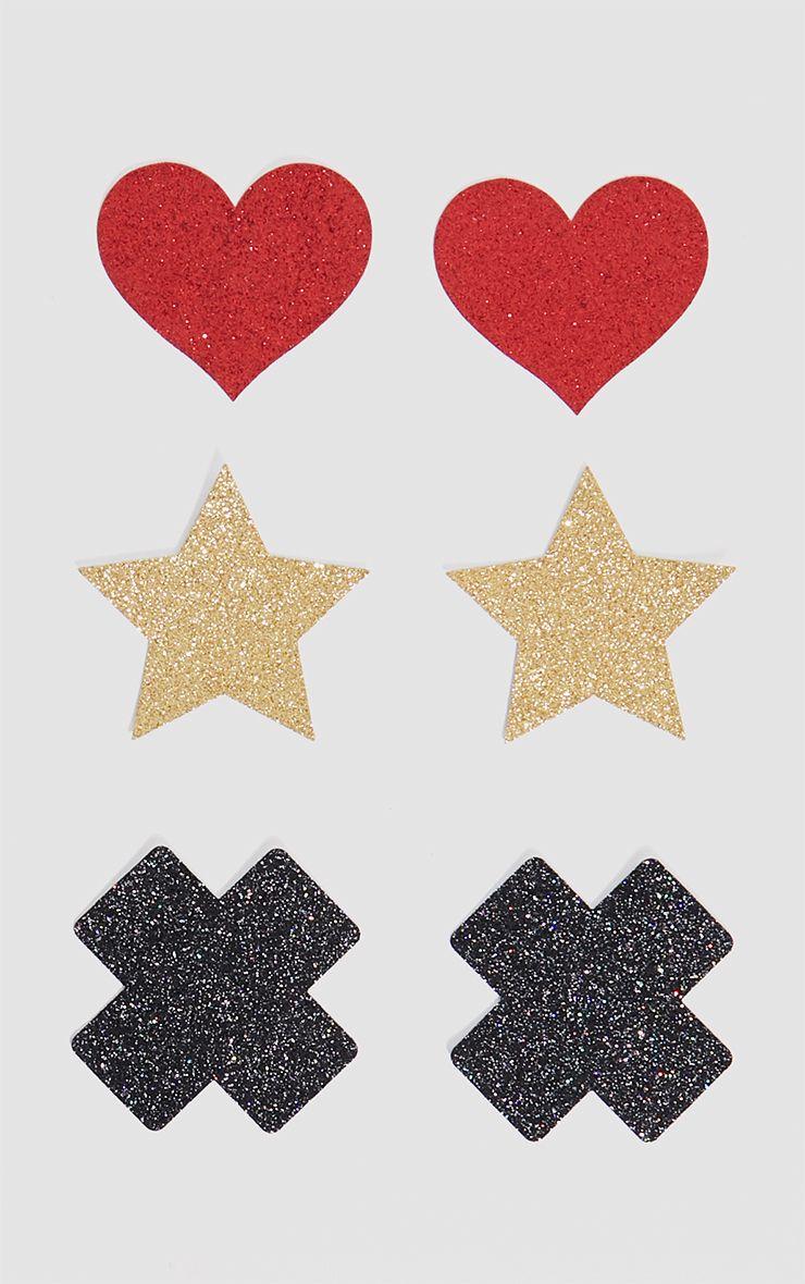 Black 3 Pack Glitter Cross, Stars & Heart Nipple Covers
