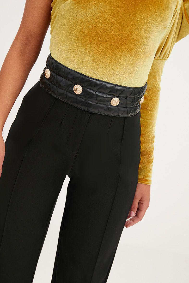 Black Quilted Gold Studded Belt
