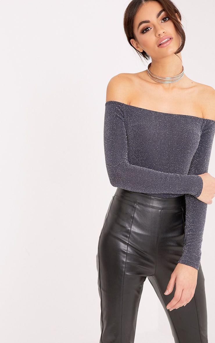 Luzette Grey Lurex Bardot Longsleeve Bodysuit 1