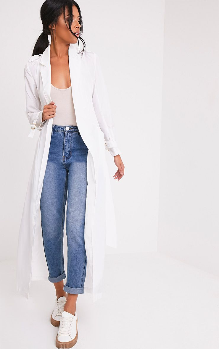 Hebe White Lightweight Duster Mac