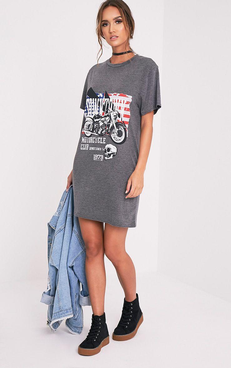 Motorcycle Club Charcoal Printed T Shirt Dress 1