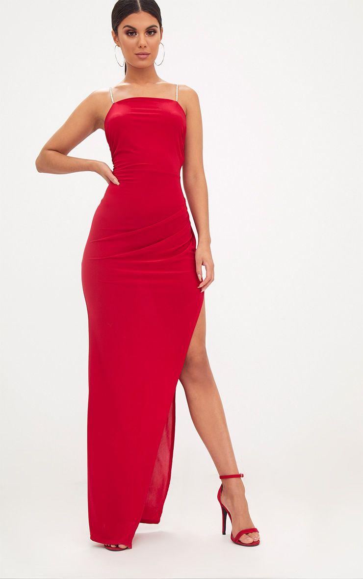 Red Diamante Strap Wrap Maxi Dress