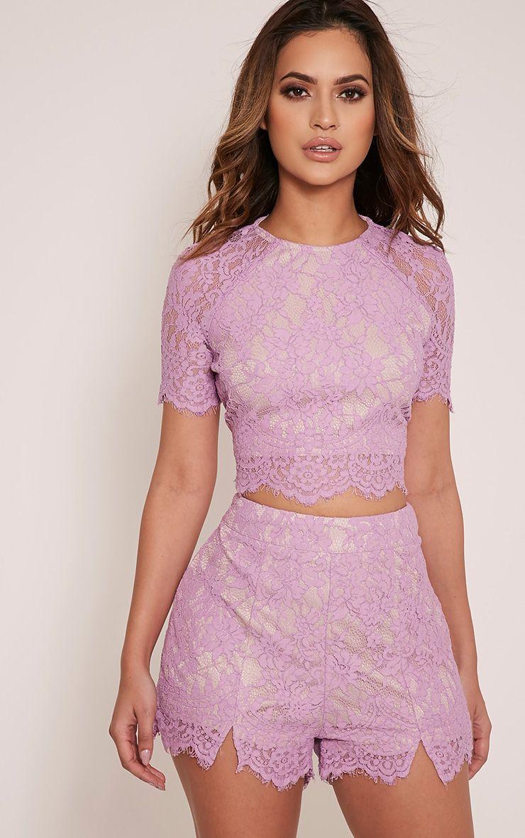 Ellena Mauve Lace Shorts 1