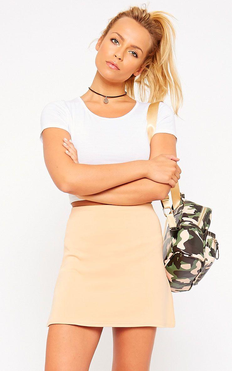 Lauryn Camel Scuba A Line Skirt 1