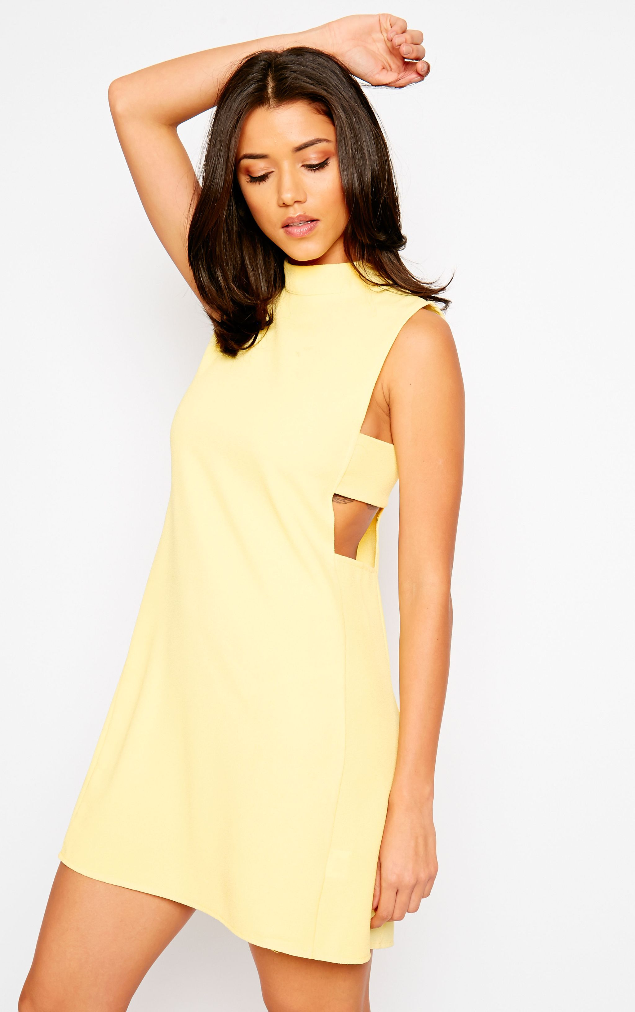Rina Yellow Cut Out Tabard Dress 1