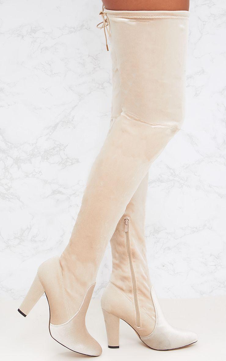Nude Velvet Thigh High Heeled Boot