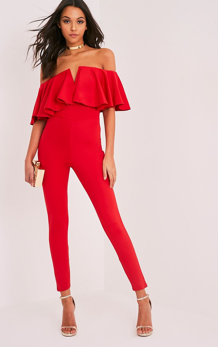 Lilliana Red Bardot Frill Scuba Jumpsuit