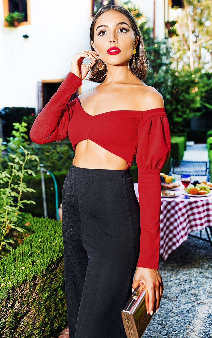 Red Puff Sleeve Bardot Crop Top