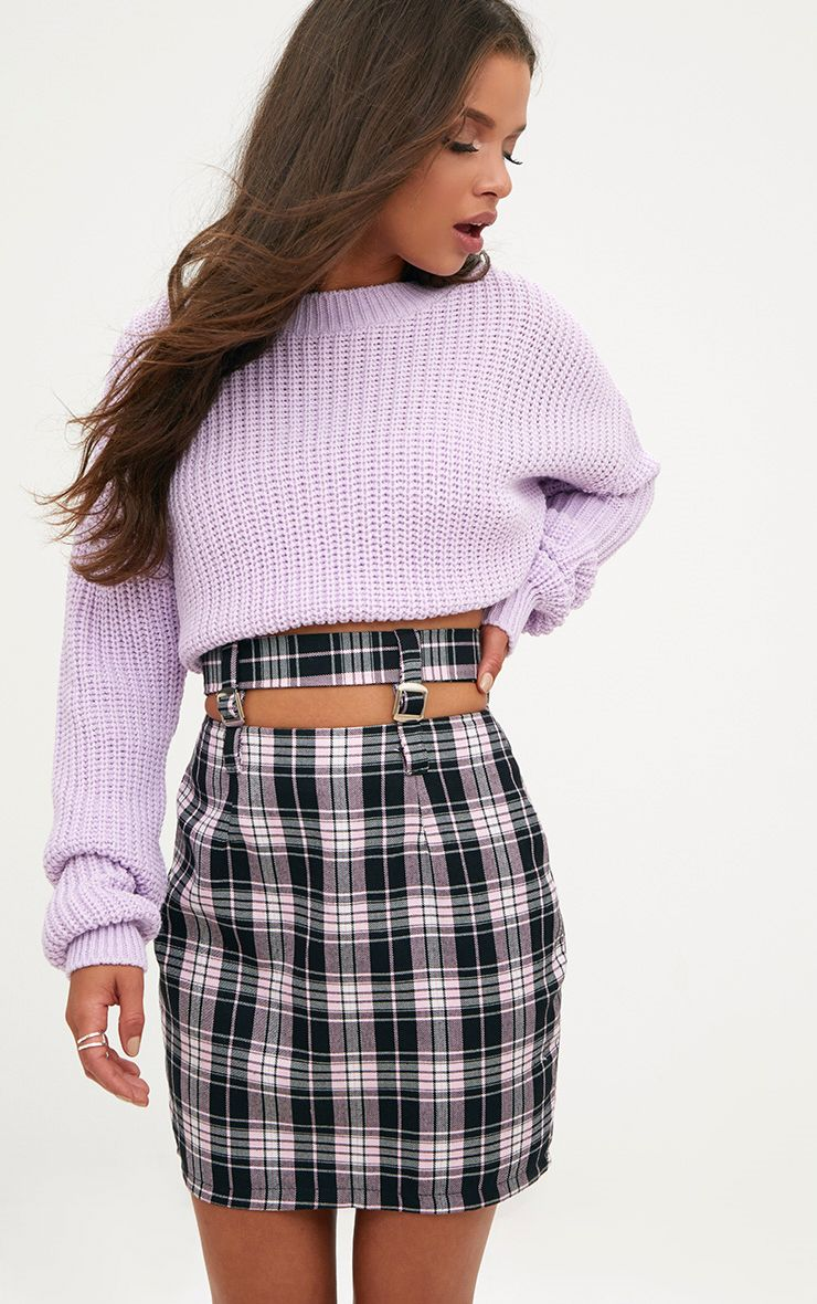 Pink Check Buckle Waist Mini Skirt