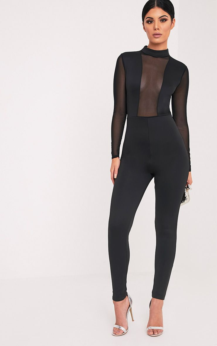 Whitney Black Mesh Scuba Jumpsuit