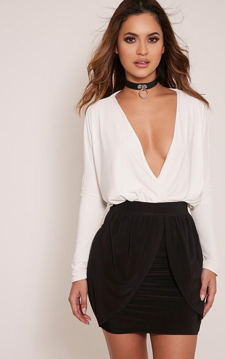 Kelsie Black Drape Layered Slinky Mini Skirt 1