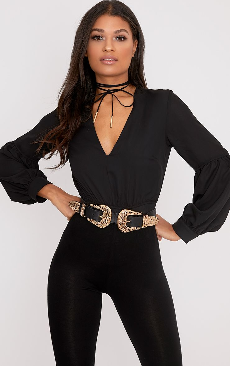 Black Woven V Neck Puff Sleeve Thong Bodysuit