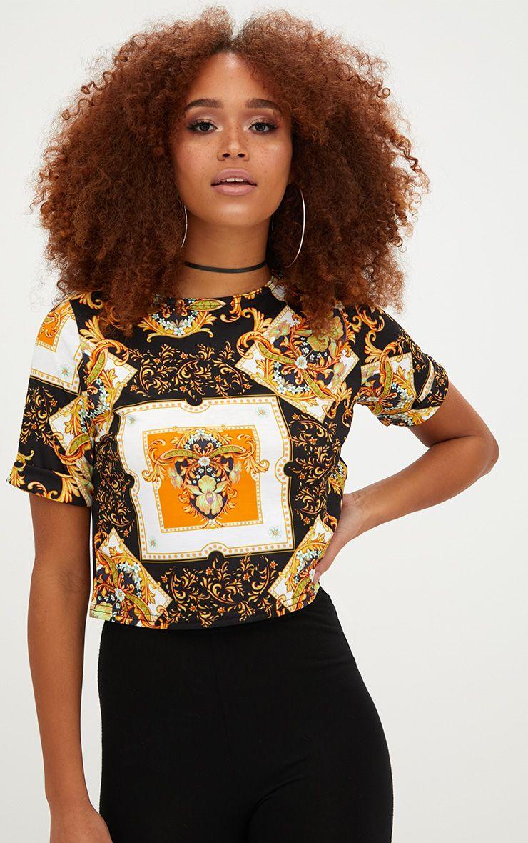 Black Chain Print Crop T Shirt