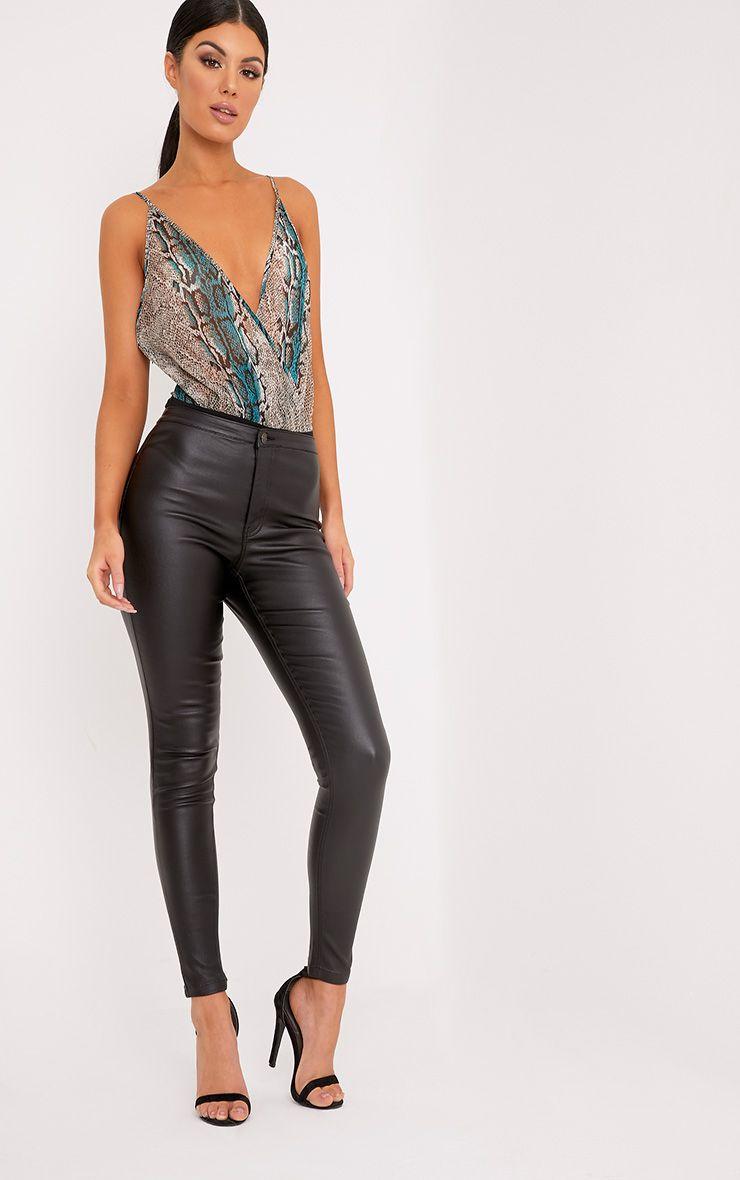 Siena Grey Snake Print Plunge Sheer Thong Bodysuit