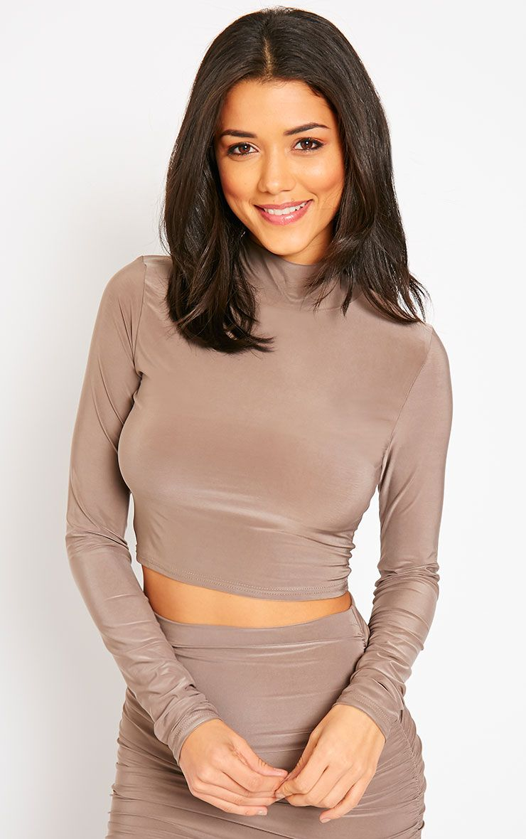 Saylor Mocha Slinky Turtle Neck Crop Top 1