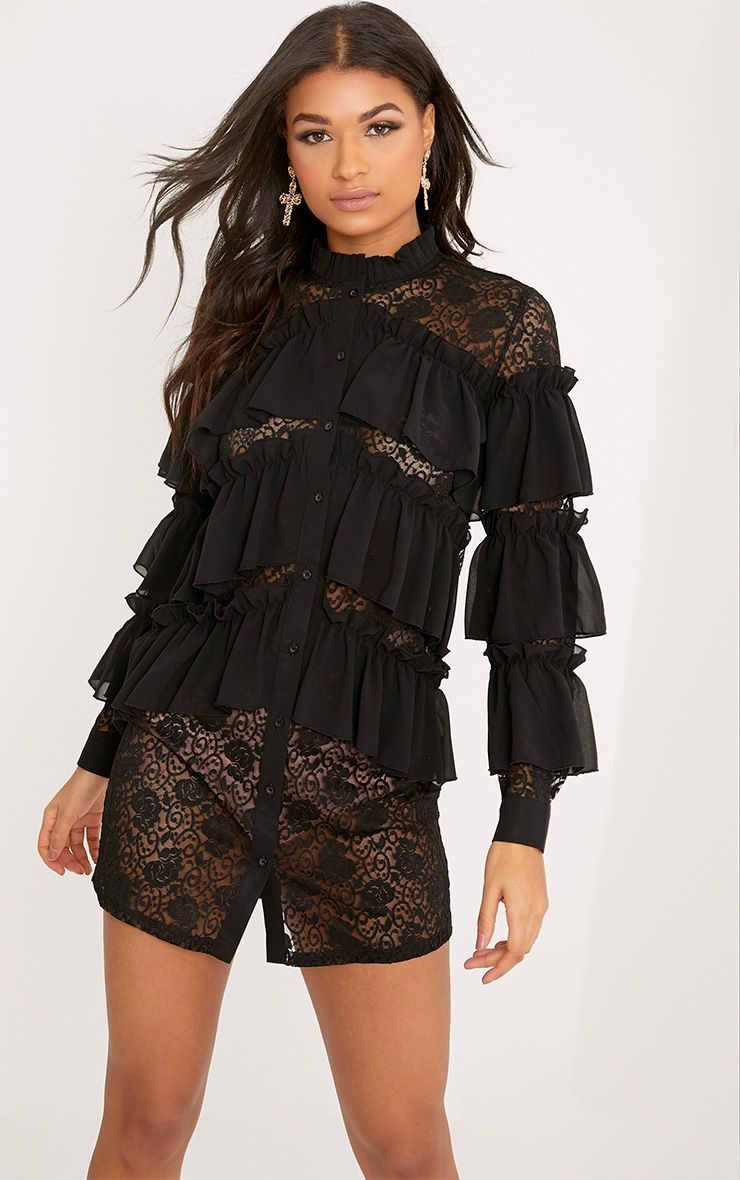 Uma Black Lace Ruffle Detail Shirt Dress
