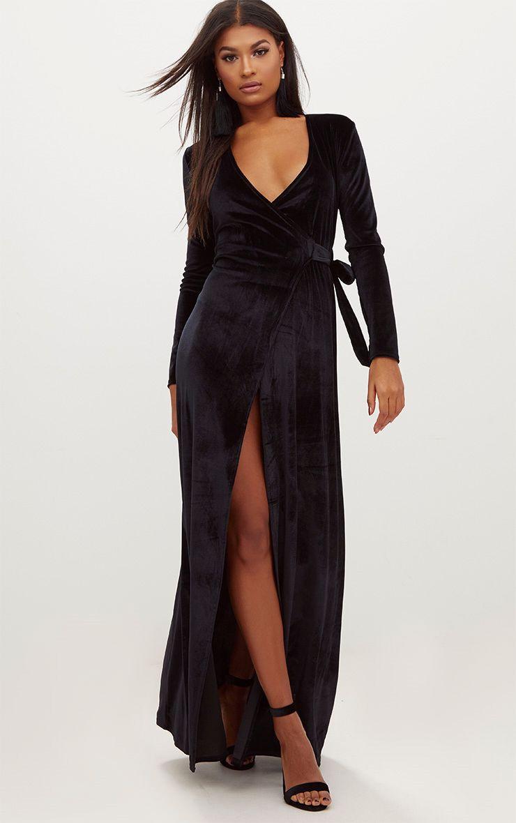 robe longue style kimono cache coeur en velours noir robes. Black Bedroom Furniture Sets. Home Design Ideas