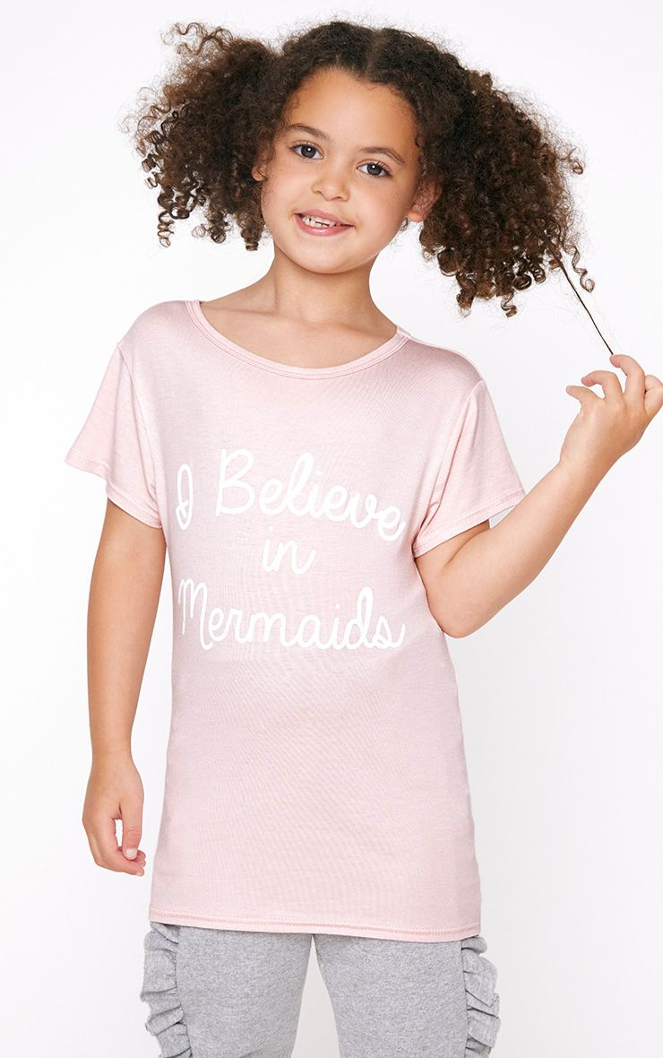 I Believe in Mermaids Pink T Shirt