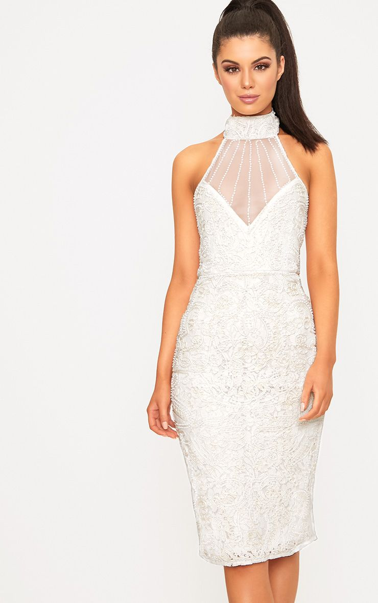 Celene White Halterneck Beaded Lace Midi Dress