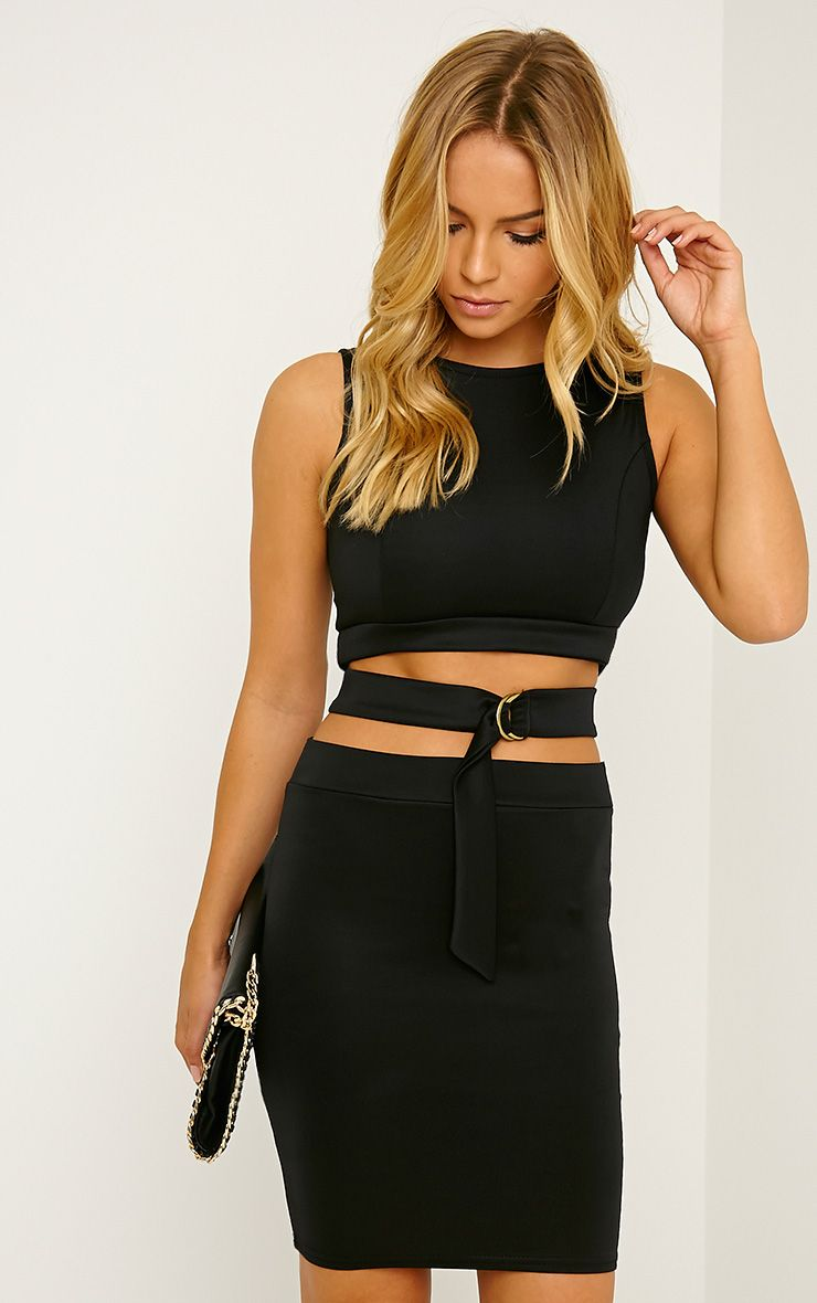 Belle Black Belted Mini Dress 1