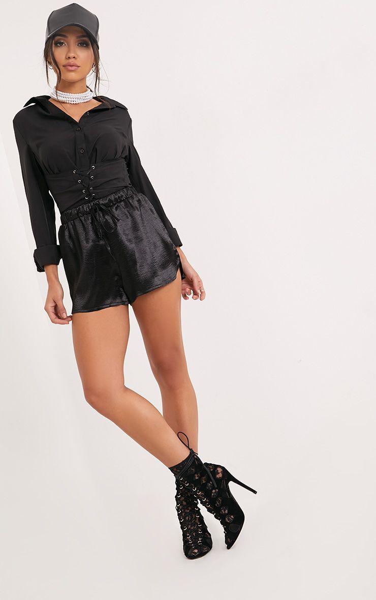 Mireyah Black Satin Shorts