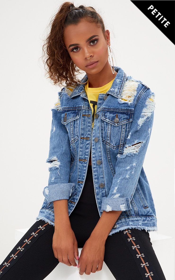 Petite Mid Blue Distressed Denim Jacket