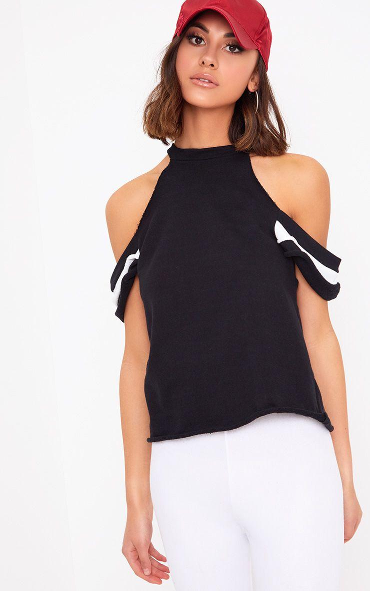 Black Cold Shoulder Frill Sleeve Sweater