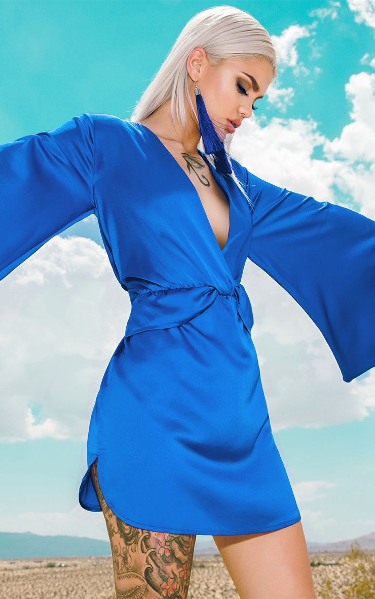 Cobalt Satin Kimono Sleeve Plunge Shift Dress 1