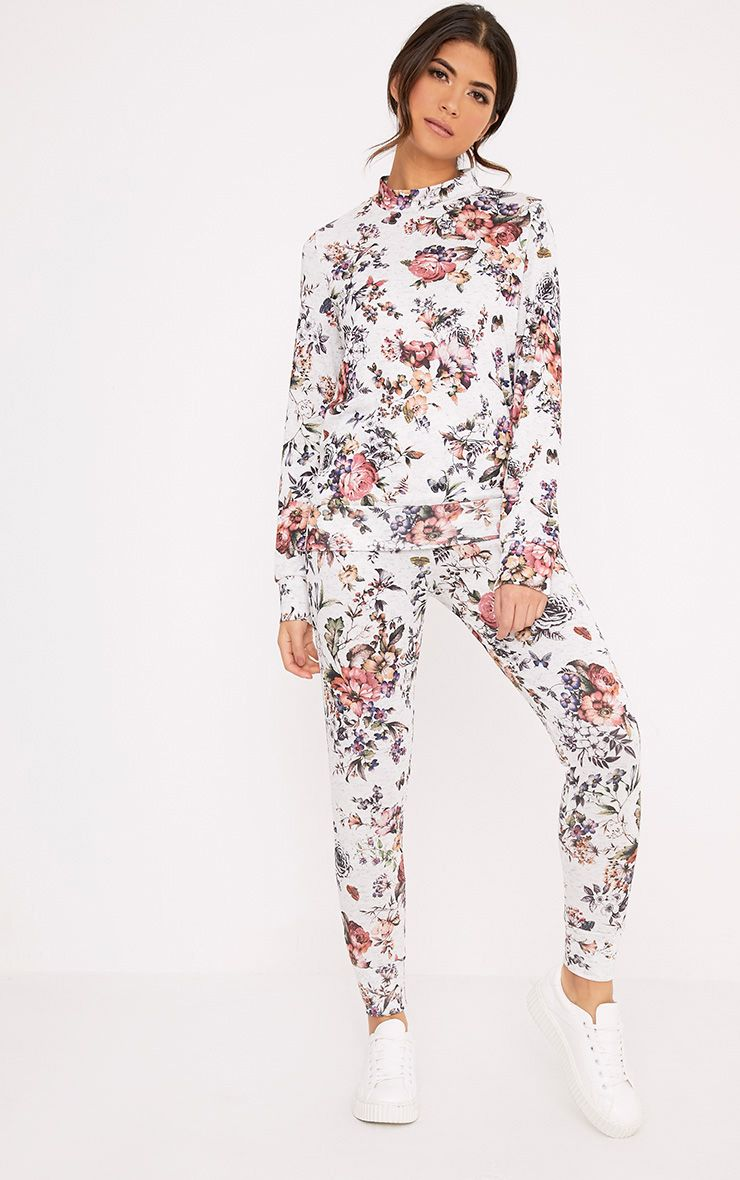 Jazmine Grey Printed Floral Tracksuit Set