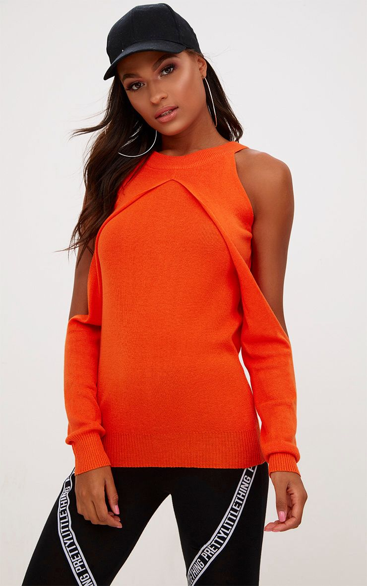 Orange Crisp Yarn Cold Shoulder Jumper
