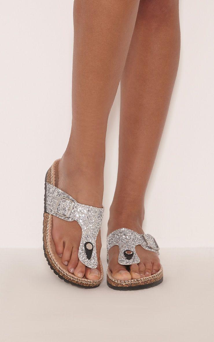 Emiliya Silver Glitter Strap Sandals 1
