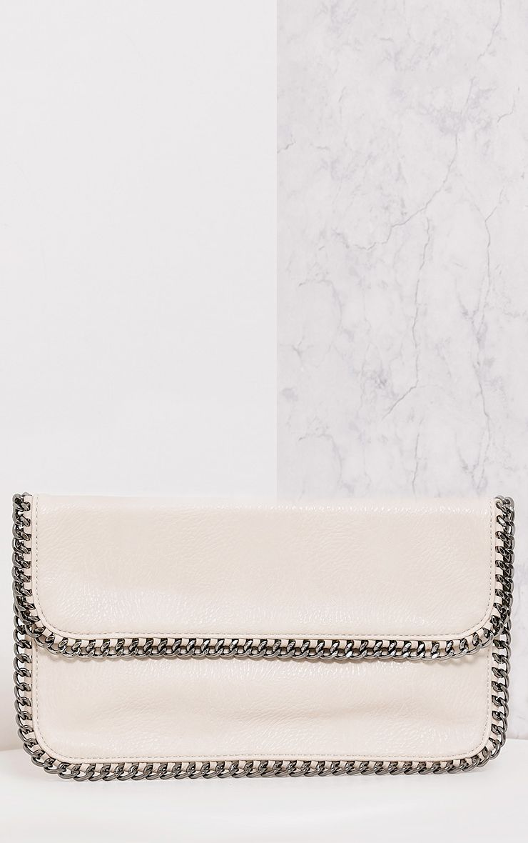 Mildrie Beige Chain Detail Clutch