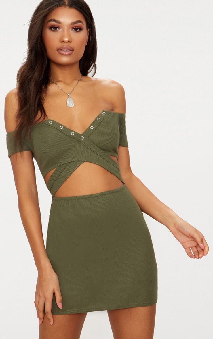 Khaki Ribbed Popper Detail Bardot Bodycon Dress