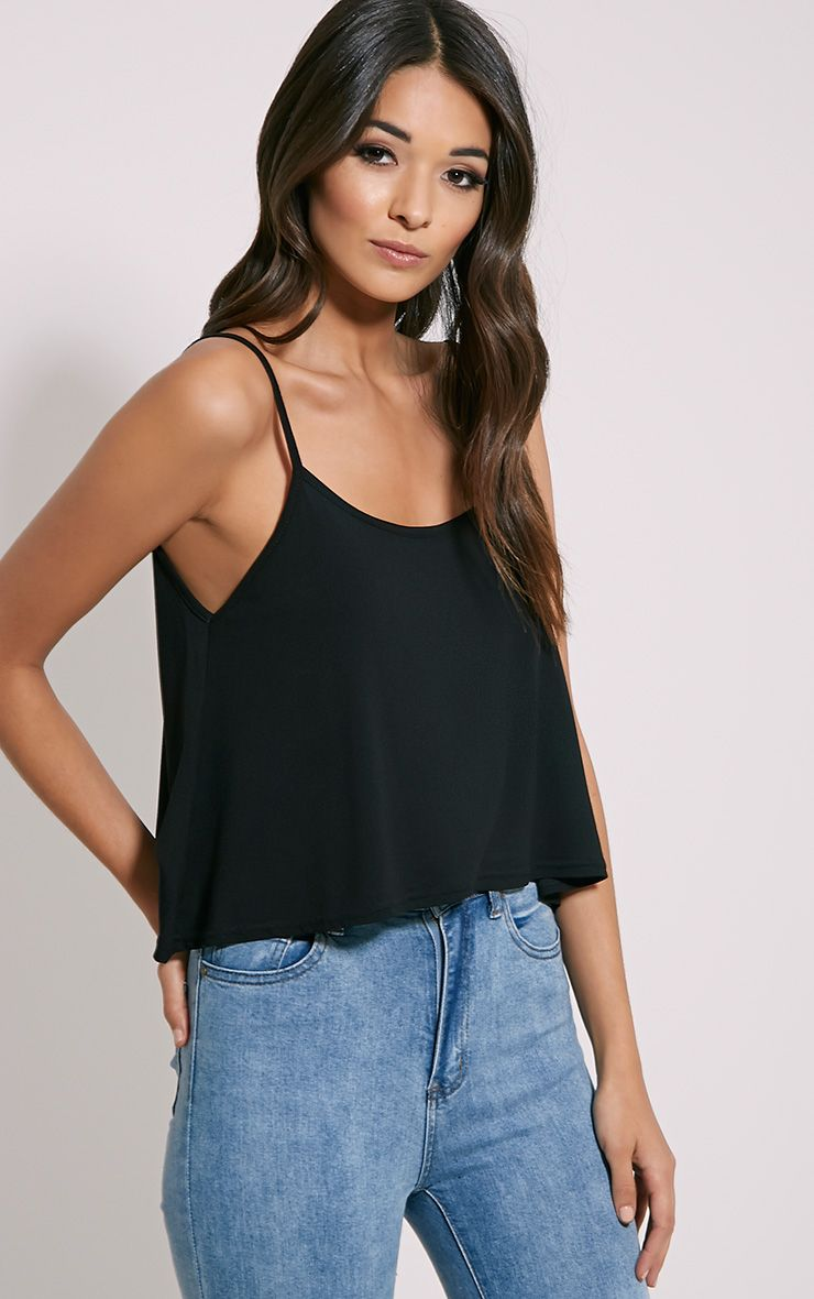 Basic Black Jersey Swing Cami Top 1