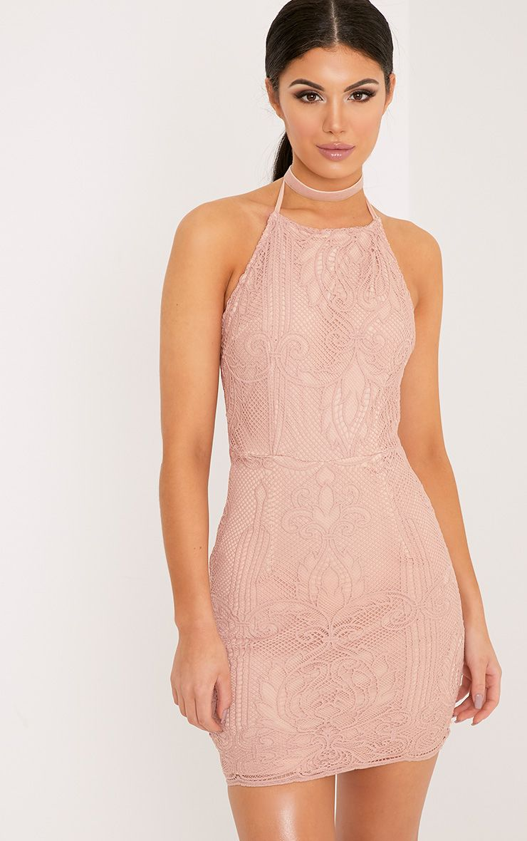 Sassia Dusty Pink Halterneck Strappy Back Lace Dress