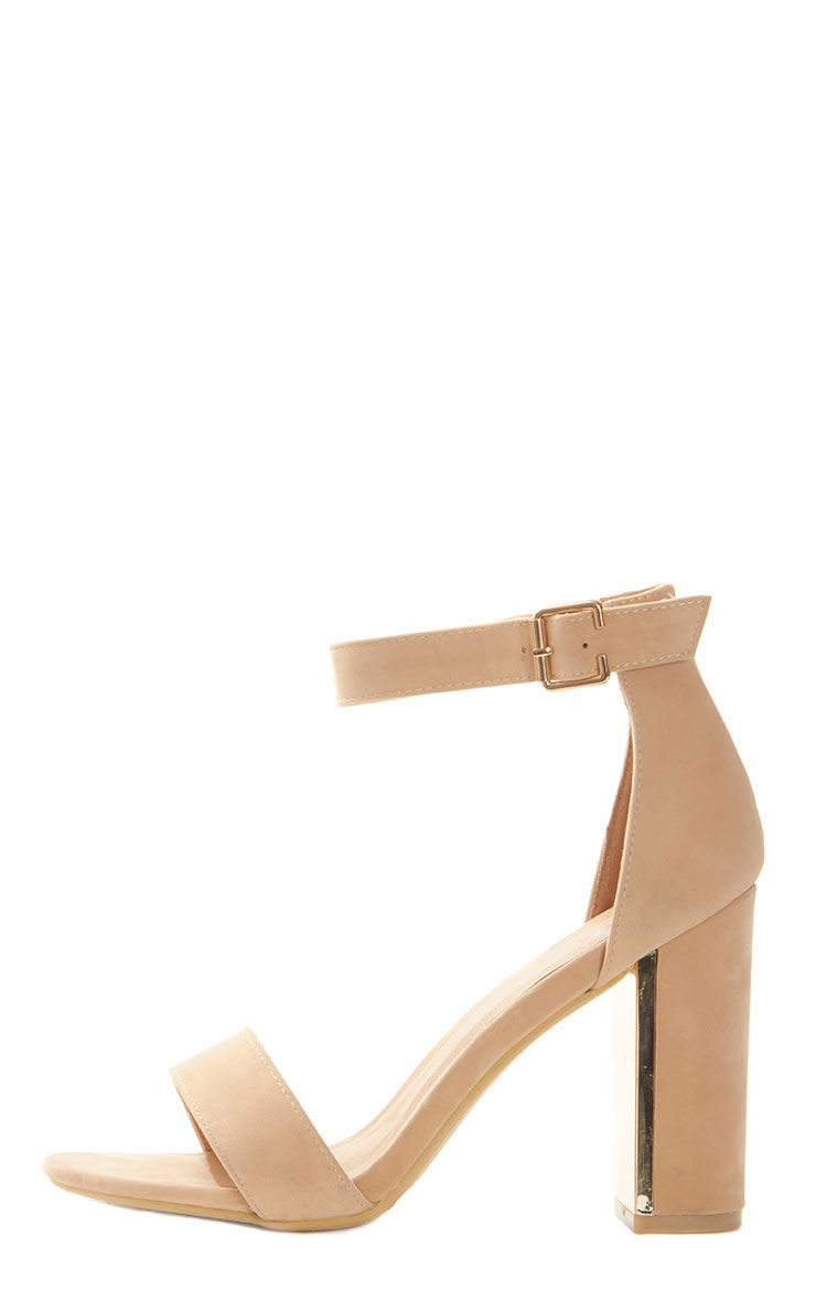 Olivia Nude Suede Gold Trim Block Heeled Sandal - Shoes ...