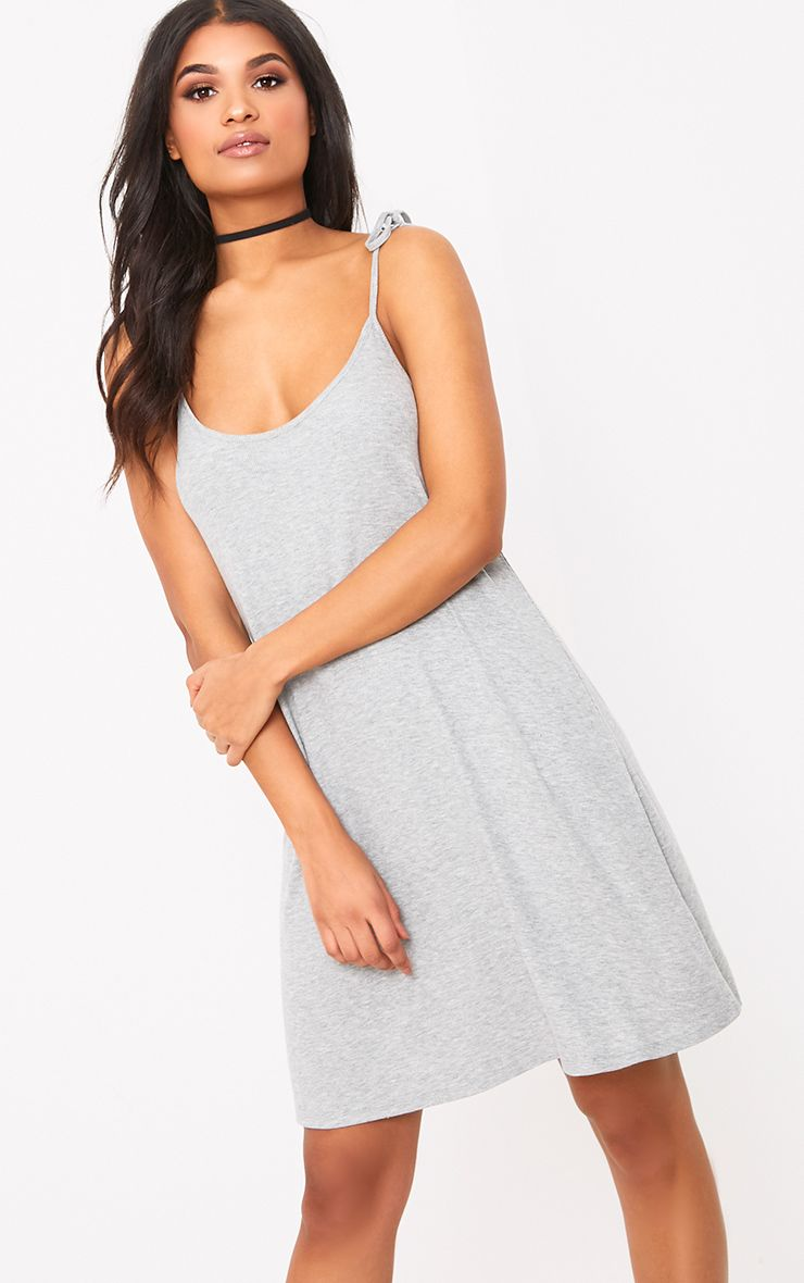 Shandra Grey Marl Jersey Tie Strap Swing Dress