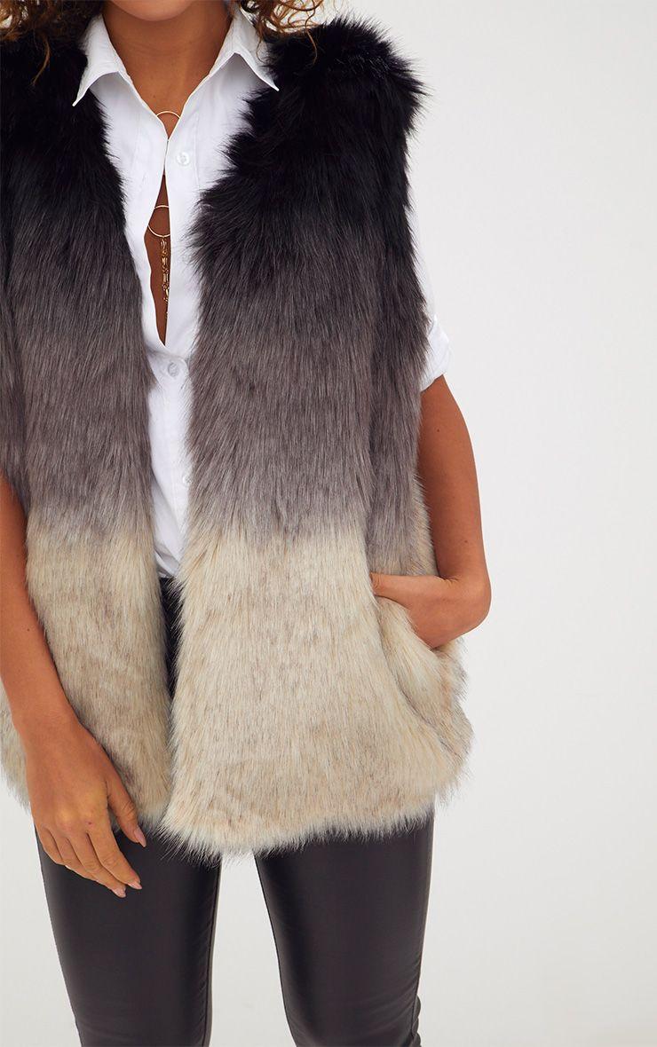 Grey ombre faux fur gilet coats jackets - Fausse couche sans s en rendre compte ...