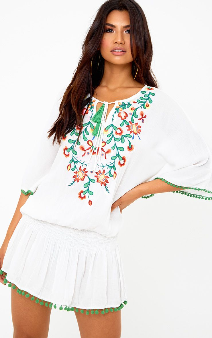 White Embroidered Shirring Kaftan Dress