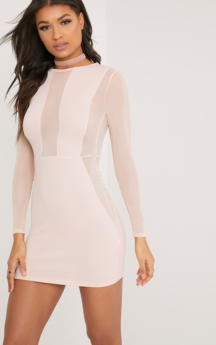 Eliza Nude Mesh Insert Long Sleeve Bodycon Dress