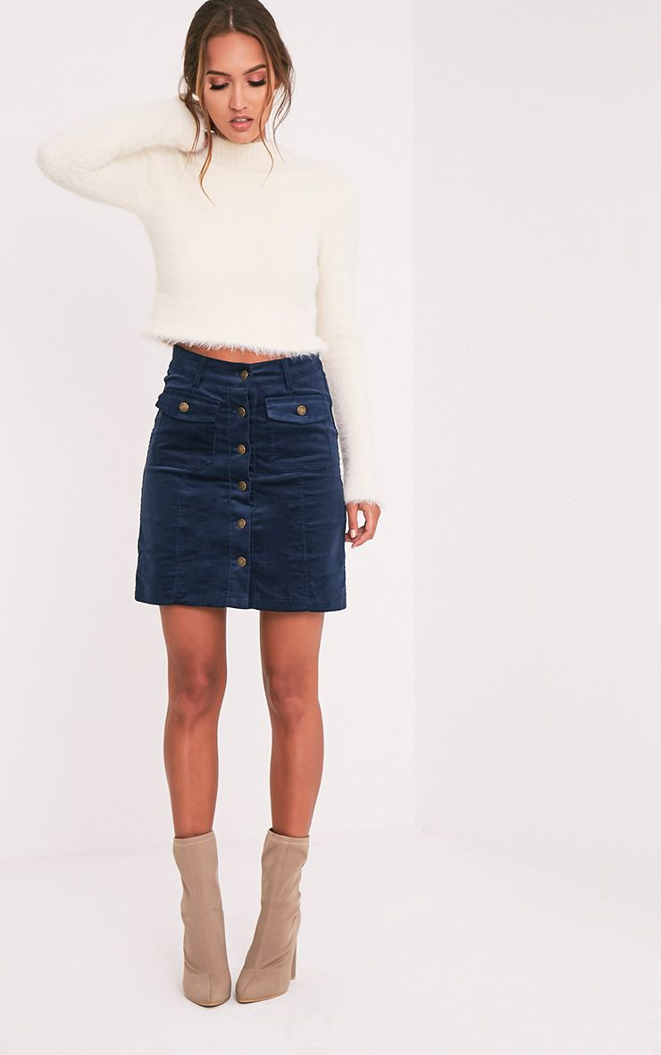 Product photo of Nahara navy button down cord mini skirt blue