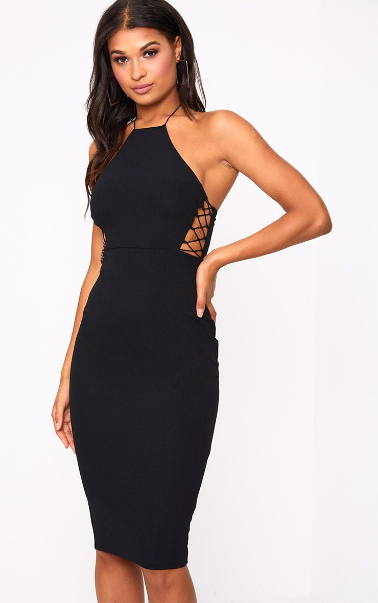 Black Lace Side High Neck Midi Dress