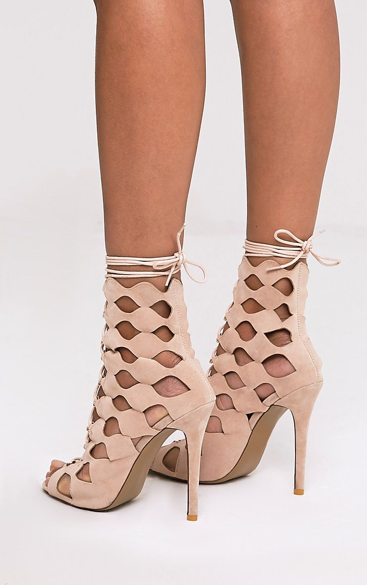 Chey Nude Geometric Cut Out Lace Up Heels 4