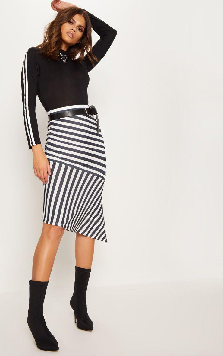 Black Crepe Asymetric Stripe Skirt