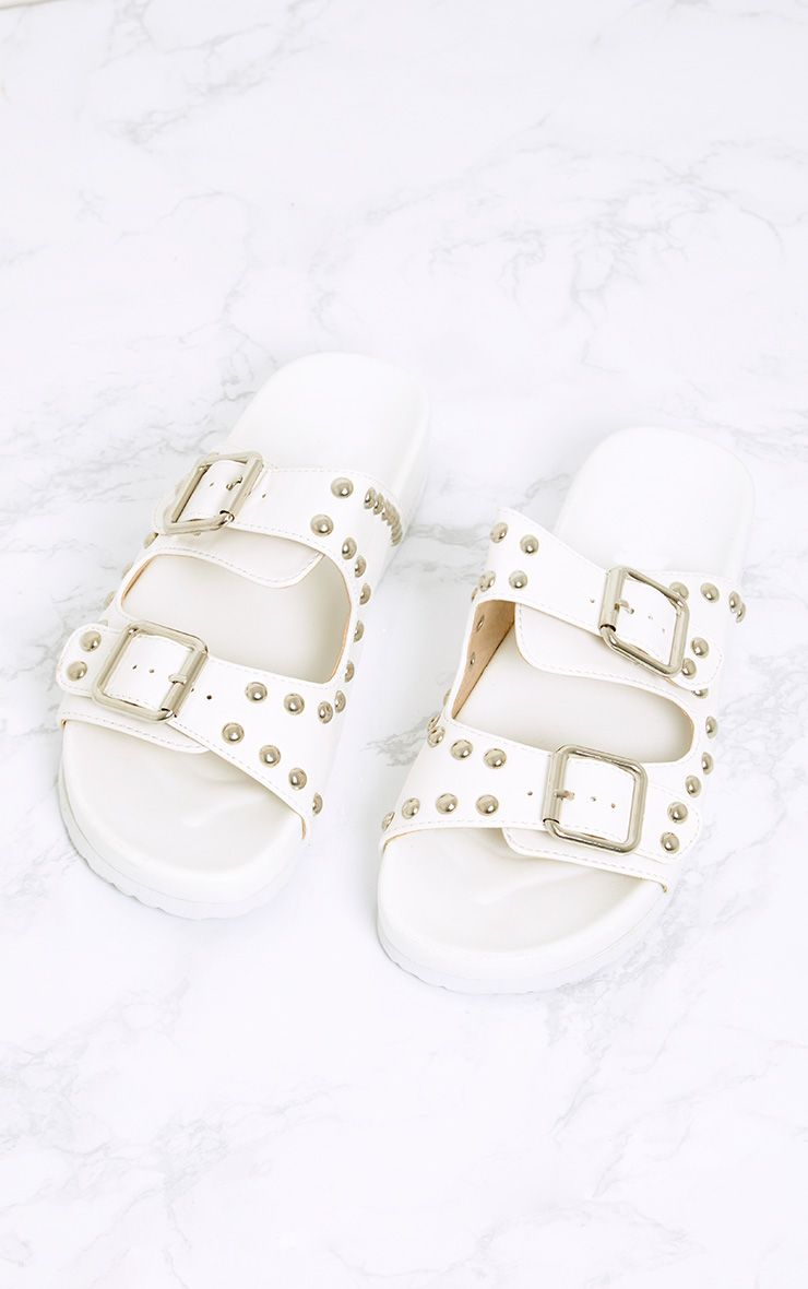 Philipa White Studded Strap Sliders