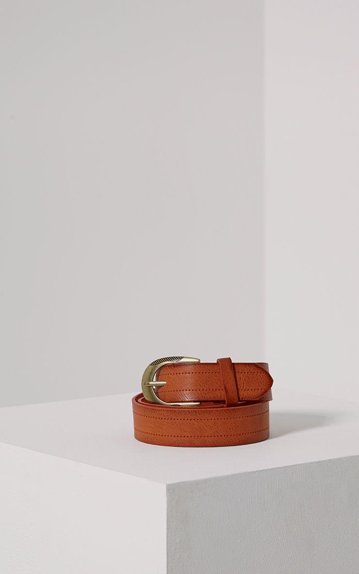 Helene Tan Wide Leather Belt 1