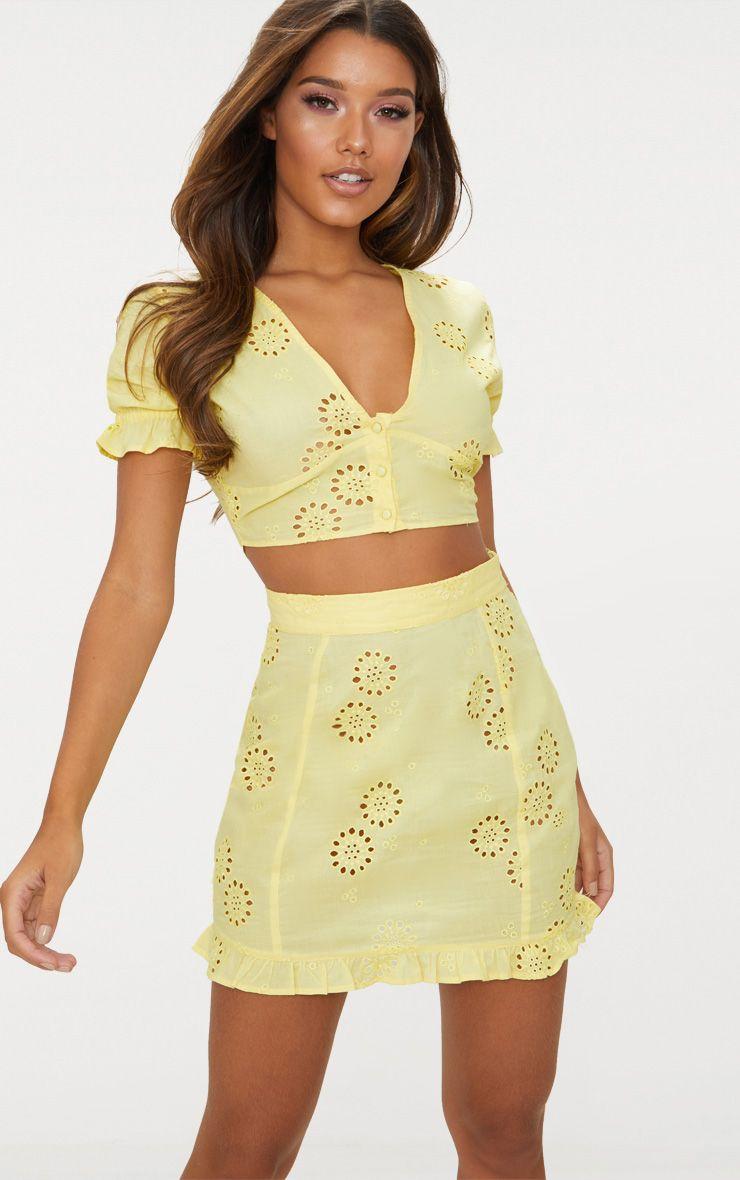 Lemon Embroidered Frill Hem Mini Skirt