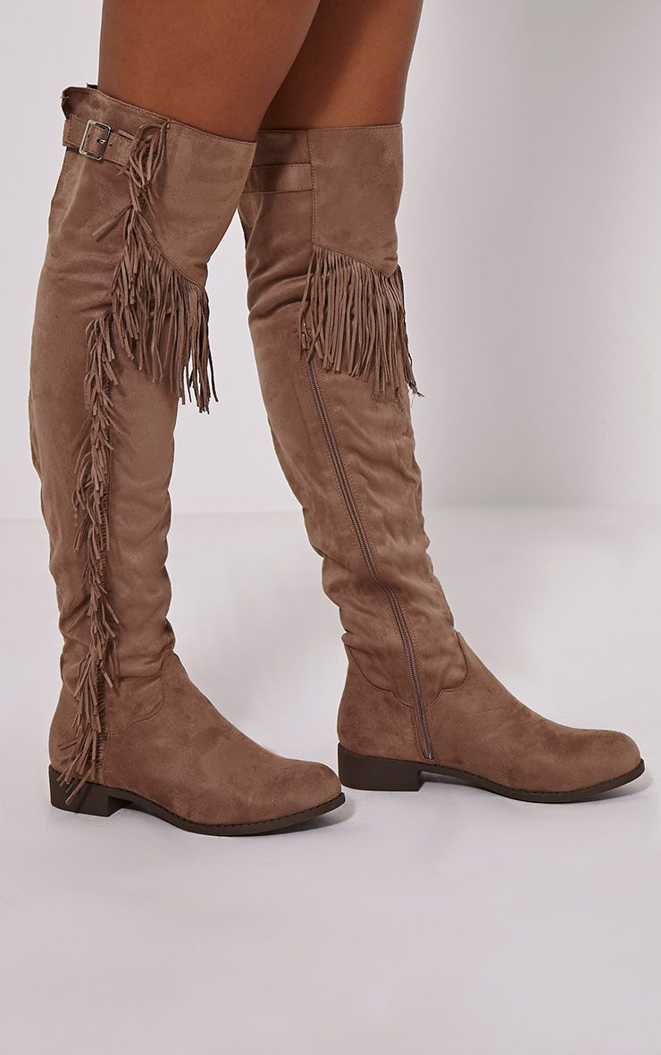 Amorie Mocha Tassel Side Flat Faux Suede Thigh Boots 1